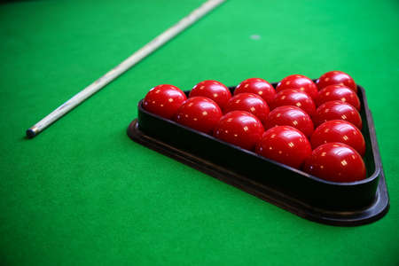 pool game: Snooker ball on snooker table, Snooker or Pool game on green table, International sport. Stock Photo
