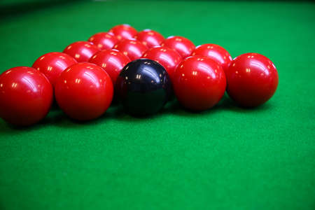 snooker table: Snooker ball on snooker table, Snooker or Pool game on green table, International sport. Stock Photo
