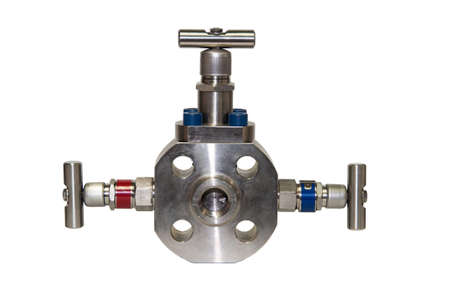 transducer: Close up manual valve or needle valve of high pressure process on white . Stock Photo