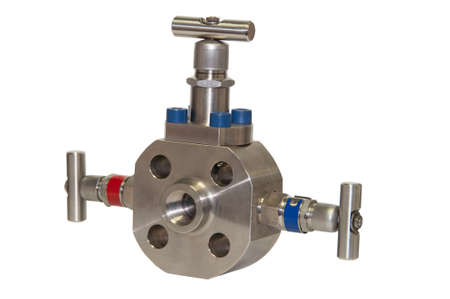 sterility: Close up manual valve or needle valve of high pressure process on white . Stock Photo