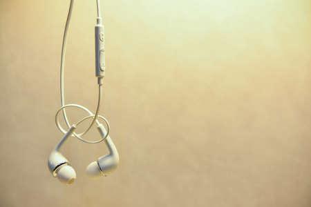 digital music: Close up or concept of digital music white Headphones. Stock Photo