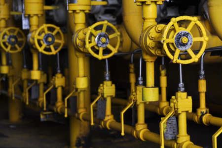 close fitting: Valves manual in the process. Production process used manual valve to control the system Stock Photo