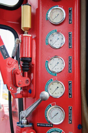 Meters or gauge in crane cabin for measure Maximun load, Engine speed , Hydraulic pressure , Temperature and fuel level , Support crane driver to know the condition of crane photo