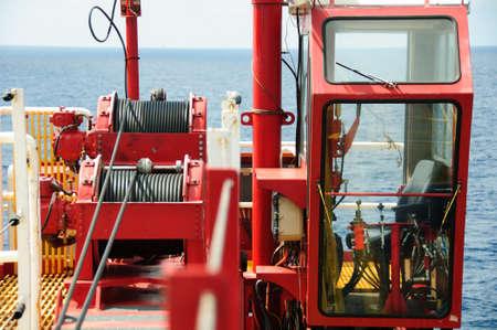 construction platform: Crane cabin in construction platform. Control cabin of crane operator. Stock Photo
