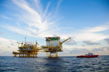 Oil and gas platform in the gulf or the sea,  Offshore oil and rig construction, Energy business. Stock Photo