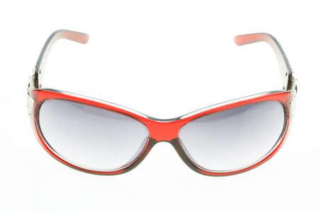 astigmatism: close up of eye glasses isolated on white background. Stock Photo