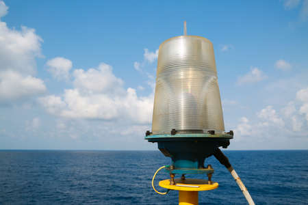hatteras: Navigation aid on the platform in offshore, Signal in marine, Light to show subject in the sea on night. Stock Photo