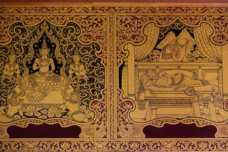 thai temple: Ancient Thai pattern on wall in Thailand Buddha Temple , Asian Buddha style art, Beautiful pattern on temple wall. Stock Photo