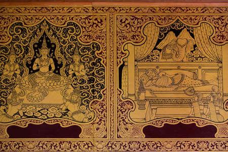 Ancient Thai pattern on wall in Thailand Buddha Temple , Asian Buddha style art, Beautiful pattern on temple wall. Stock Photo