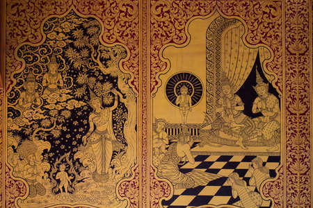 thai style: Ancient Thai pattern on wall in Thailand Buddha Temple , Asian Buddha style art, Beautiful pattern on temple wall. Stock Photo