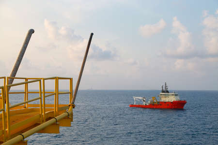 construction platform: Remote platform in the gulf for production oil and gas. The construction platform and controlled production by auto command.