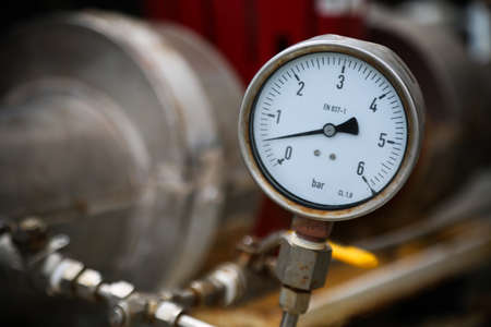 monitored: Pressure gauge on oil and gas process for monitored condition. The gauge is one of tools for present or showed condition of process to Operator.