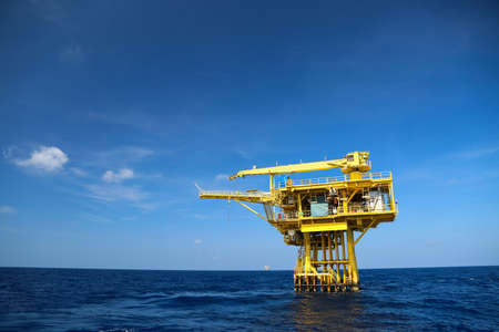 oilrig: Oil and Rig industry in offshore, Construction platform for production oil and gas in energy business, Heavy industry and hard works in the sea.