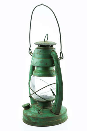 hurricane lamp: Old or vintage hurricane lamp on white background, Material corrosion of lamp material.