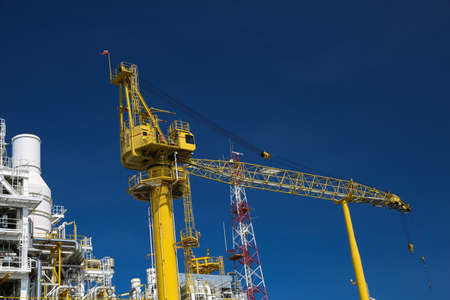 construction platform: Offshore oil and gas production and exploration business. Production oil and gas plant and main construction platform in the sea. Energy business. Stock Photo