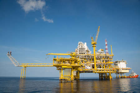 greenhouse gas: Offshore oil and gas production and exploration business. Production oil and gas plant and main construction platform in the sea. Energy business. Stock Photo