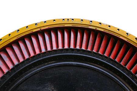 turbine engine: Closeup of Turbojet engine of the plane Jet engine turbine blade airplane. Stock Photo