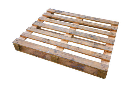 euro pallet: The wooden pallet isolated on white background, Pallet carrier or rack for support product in store or logistic industry.