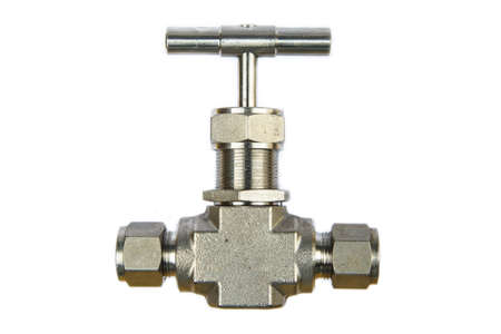 gas ball: Manual ball valve or stainless steel ball valve isolated on white background, Valve for oil and gas process or high pressure process, Instrument supply equipment for control pressure