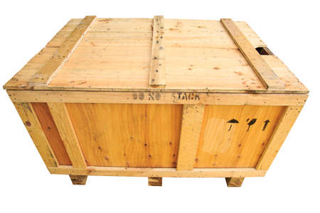 boxed: Old wooden box isolated on white background, wooden box for pack product to the customer in industry and delivery job, Shipping business. Stock Photo