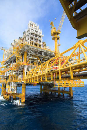 greenhouse gas: Construction platform for production energy.Oil and gas platform in the gulf or the sea, The world energy, Offshore oil and rig construction. Editorial