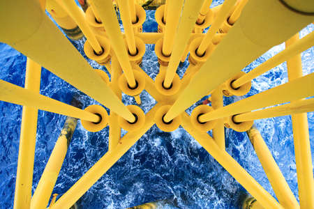 industrial industry: Oil and Gas Producing Slots at Offshore Platform, Oil and Gas Industry. Well head slot on the platform or rig. Production and Explorer industry.