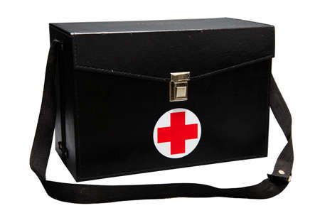 emergency case: First aid kit box in white background or isolated background, Emergency case used aid box for support medical service, Black first aid kit isolated on white background, Vintage aid box.