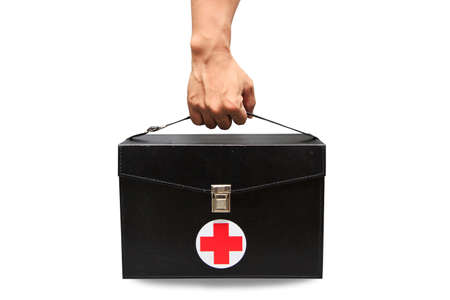 green cross: First aid kit box in white background or isolated background, Emergency case used aid box for support medical service, Black first aid kit isolated on white background, Vintage aid box.