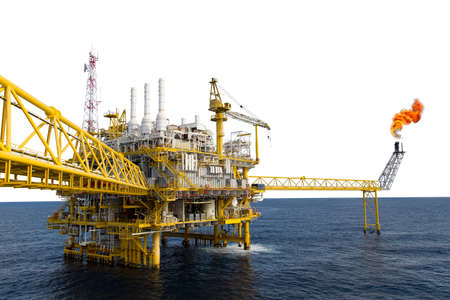 Oil and gas platform or Construction platform in the gulf or the sea, Production process for oil and gas industry. Stock Photo - 43909667