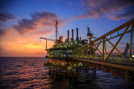 Oil and gas platform or Construction platform in the gulf or the sea, Production process for oil and gas industry. Stock Photo - 43926670