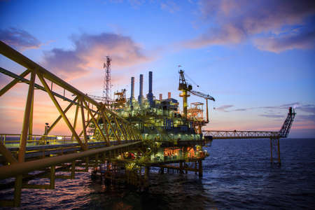 construction platform: Oil and gas platform or Construction platform in the gulf or the sea, Production process for oil and gas industry.