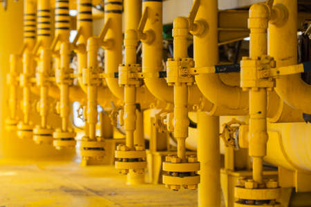pipelines: pipelines on oil and gas platform for production Stock Photo