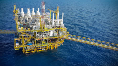 construction platform: Offshore construction platform for production oil and gas, Oil and gas industry and hard work, Production platform and operation process by manual and auto function.