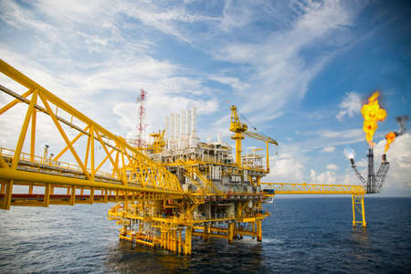 construction platform: Offshore construction platform for production oil and gas, Oil and gas industry and hard work