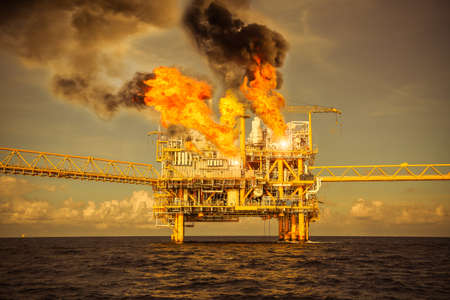 offshore oil and gas fire case or emergency case, firefighter operation to control fire on oil and gas production platform, offshore worst case and cant control fire, man overboard.