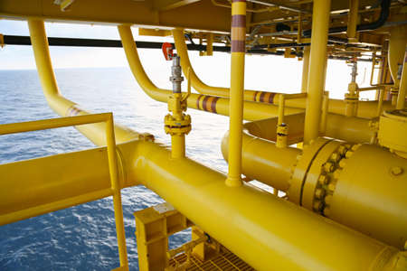 pipelines on oil and gas platform for production