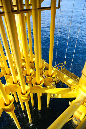 producing: Oil and Gas Producing Slots at Offshore Platform, Oil and Gas Industry Stock Photo