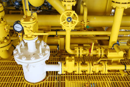 pipelines on oil and gas platform for production, Oil and gas process and control by automation system, Operator control product in oil and gas industry. Stock Photo