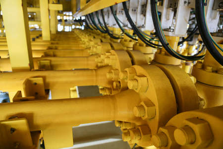 pipelines on oil and gas platform for production, Oil and gas process and control by automation system Stock Photo