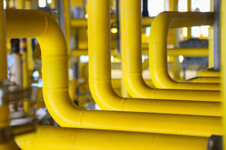 gas supply: pipelines on oil and gas platform for production Stock Photo