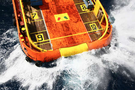 helideck: Supply boat transfer cargo to oil and gas industry and moving cargo from the boat to the platform