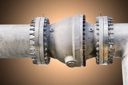 flanges: Metal pipe flanges with bolts on an isolated background, Pipe line in oil and gas industry and installed in plant or process.