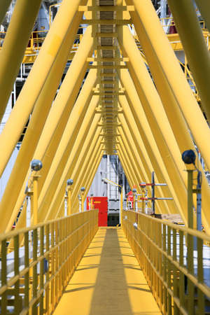 gangway: Gangway or walk way in oil and gas construction platform, oil and gas process platform, remote platform for production oil and gas, Construction in offshore.