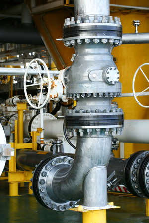 close fitting: Valves manual in the process. Production process used manual valve to control the system, duplex valve or stainless steel valve in oil and gas process and high quality. Stock Photo