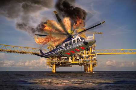 taladro: Helicóptero se estrella en el mar en petróleo en alta mar y la industria de equipo de perforación, la ubicación Mar del Norte en la industria offshore, rescate del accidente en el mar.