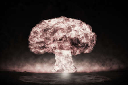 nuke: Nuclear explosion in an outdoor setting. Symbol of environmental protection and the dangers of nuclear energy