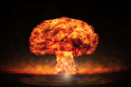 dangers: Nuclear explosion in an outdoor setting. Symbol of environmental protection and the dangers of nuclear energy