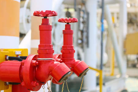 working area: Fire valve,installation of fire safety,Security fire system in industry or the process,Safety equipment and stand by at working area for support worst case from fire.