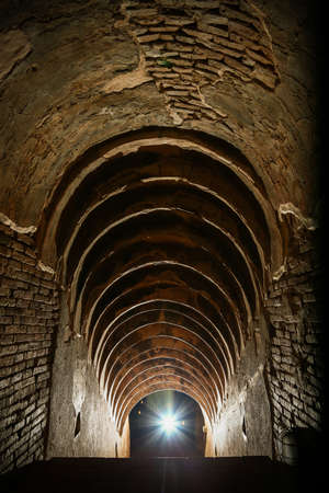 waited: tunnel background and business concept. tunnel with old brick. the end of tunnel and concept business successfully. mystery tunnel or mystery way. tunnel damaged and waited for repair.