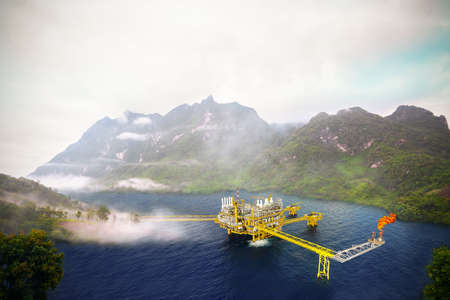 construction platform: Offshore construction platform for production oil and gas, Oil and gas industry and hard work,Production platform and operation process by manual and auto function, oil and rig industry and operation.
